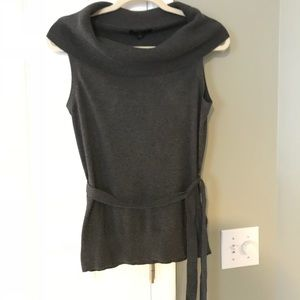Sweater Tank with Fold-over Collar and Tie